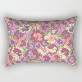 Pansy Floral Pattern Rectangular Pillow