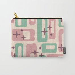 Retro Mid Century Modern Abstract Pattern 222 Dusty Rose and Pastel Green Carry-All Pouch