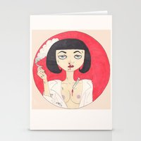 mia wallace Stationery Cards featuring Mia Wallace (Pulp Fiction)  by LoveCats