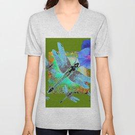 BLUE DRAGONFLIES MORNING GLORY GREEN ART Unisex V-Neck