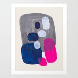 MidCentury Modern Abstract Minimalist Fun Colorful Shapes Navy Blue Magenta Grey Bubbles Retro Style Art Print