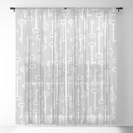 Light Grey Victorian Keys Sheer Curtain