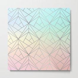 Geometric Silver Pattern on Pastel Gradient Metal Print