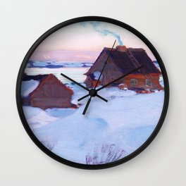Clarence Gagnon - Ferme de St. Antoine, Baie St. Paul - Canadian Oil Painting - Group of Seven Wall Clock