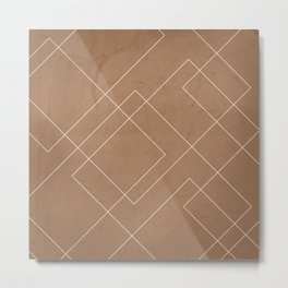 Overlapping Diamond Lines on Cinnamon  Metal Print