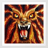 werewolf Art Prints featuring Werewolf by BluedarkArt