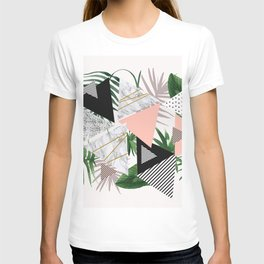Abstract of geometric patterns with plants and marble T-shirt
