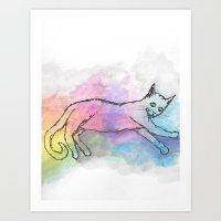 Watercolour Cat #2 Art Print