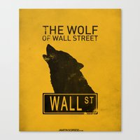 wolf of wall street Canvas Prints featuring The Wolf of Wall Street by CCL Works