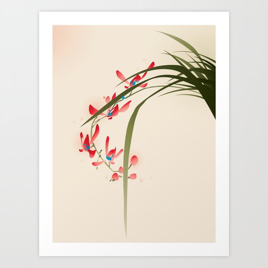 oriental style painting, red orchid flowers by oriartiste