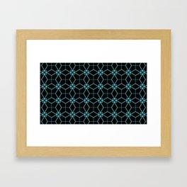 Lacy Pattern - Teal on Black Framed Art Print