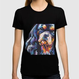 black and tan Cavalier King Charles Spaniel Dog Portrait Pop Art painting by Lea T-shirt