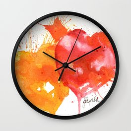 Red and Orange Hearts Wall Clock