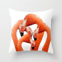 flamingos Throw Pillows featuring Flamingos by Regan's World