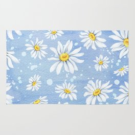 Spring Daisies On Sky Blue Watercolour Rug