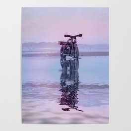 Where the Journey  begins Motorcycle at the Water Sunset Poster