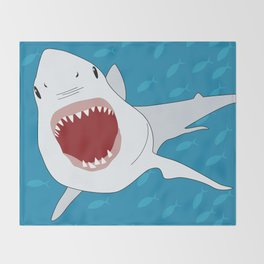 Shark Attack Underwater With Fish Swimming In The Background Throw Blanket