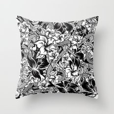 Snaky Fleur, Black 'n White Throw Pillow