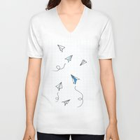 planes V-neck T-shirts featuring Paper Planes by Svitlana M
