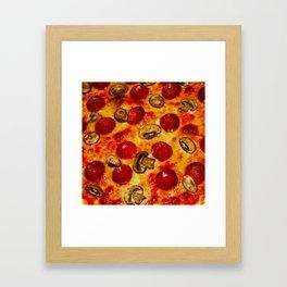 Pepperoni and Mushroom Pizza Framed Art Print
