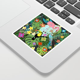 Parrots, Toucan and Flamingo Tropical Birds Tropical Forest Pattern Sticker