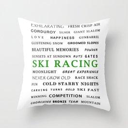 Ski Racing - Green Throw Pillow