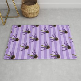 Hand Illustrated Floral Pattern Echinacea Flowers On Purple Background Rug