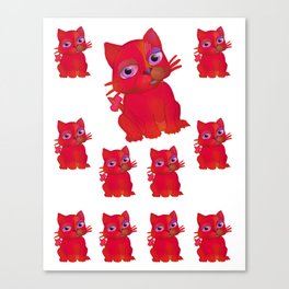 My Red Vanda Cat Pet Pattern Canvas Print