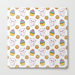 Cute happy funny Kawaii pink baby kittens, yummy colorful cupcakes and chocolate chip cookies cartoon white pattern design. Nursery decor ideas.  Metal Print