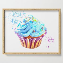 Cupcake watercolor illustration Serving Tray