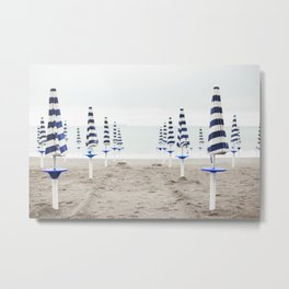 Amalfi Beach Umbrellas Metal Print