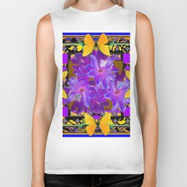 TROPICAL PURPLE FLOWERS & YELLOW BUTTERFLIES FRAMED ART Biker Tank
