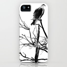 Osprey In A Dead Tree Black And White iPhone Case