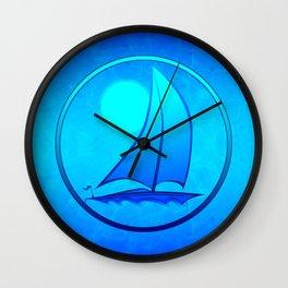 Ocean Blue Sailboat Wall Clock