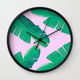 Banana Palm, muck and teal Wall Clock
