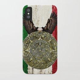 MEXICAN EAGLE AZTEC CALENDAR FLAG iPhone Case