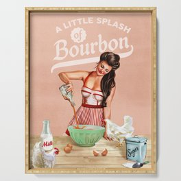 """A Little Splash Of Bourbon"" Cool Retro Pinup Cooking Art Serving Tray"