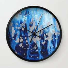 Blue waterfall encaustic painting Wall Clock