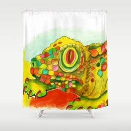 Yellow Lizzard Shower Curtain