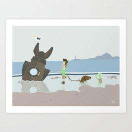 Alien Ship Beach Wall Art, Beach Art Nursery Decor, Nursery Wall Art for Boys Room Art Print