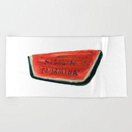 Fan's illustration - Watermelon ceramic in Taormina Sicilia Beach Towel