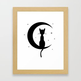 Cat on a Moon Silhouette (Lights) Framed Art Print