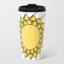 Celestial Swirling Sun Boho Mandala Hand-drawn Illustration on White Travel Mug