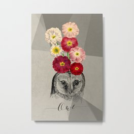 flower owl Metal Print