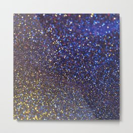 Blue and Gold Sparkles Metal Print