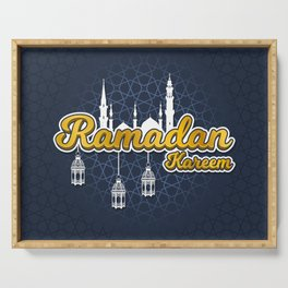 Golden Ramadan Kareem in Cartoon 3D Word with Silhouette of Prophet Muhammad's Mosque and Lantern Serving Tray