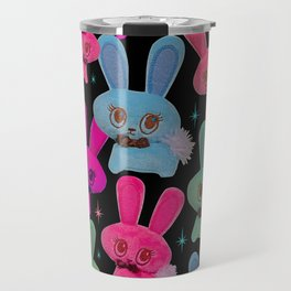 Cute Bunnies on Black Travel Mug