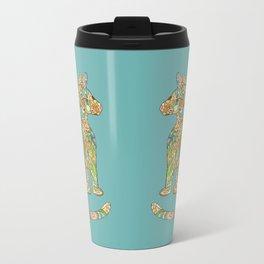 Calico Cat Blue Metal Travel Mug