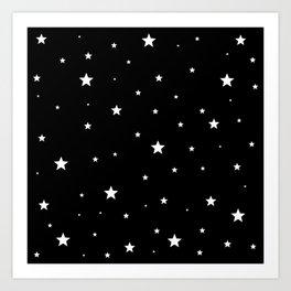 Scattered Stars - white on black Art Print