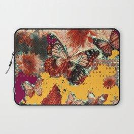 Artistic Monarch Butterflies Design Rustic Pattern Laptop Sleeve